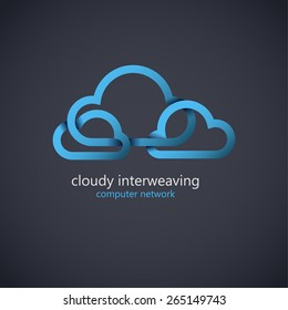 Cloud computing vector logo design template. Corporate icon. Cloud interweaving