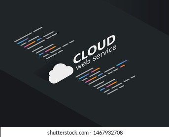 Cloud computing web service technology vector illustration