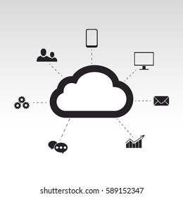 Cloud Concept  Vector Illustration. Cloud computing devices connected onto a cloud data storage background.