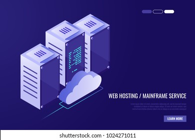 Cloud data center with hosting servers. Computer technology, network and database, internet center.Server racks with cloud. Vector illustration in Isometric style