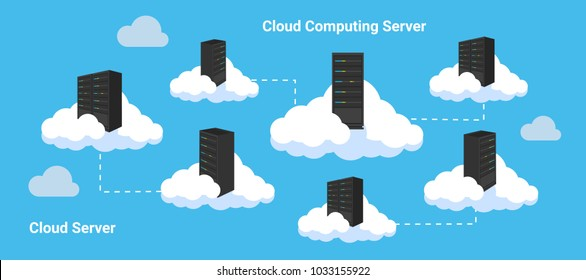 Cloud Data Center Infrastructure for database server, file server, web server. illustration multiple cloud with rack with blue background / multiple cloud computing illustration.