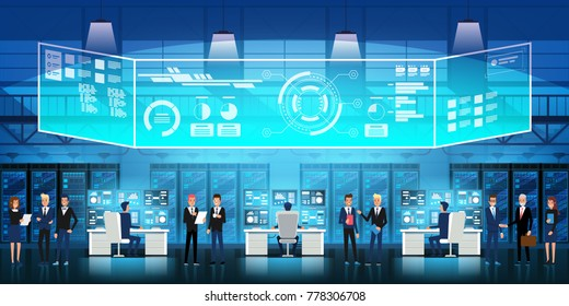Cloud data center Server room with technical staff. Flowchart, racks of servers and virtual display Vector illustration