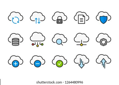 Cloud data and digital technology color line icons. Network service and data sharing vector linear colorful icon set. Isolated icon collection on white background.