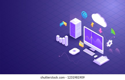 Cloud data downloading and uploading, 3d desktop with cloud server and multiple business equipments on shiny grid background. Data Management concept based isometric design.