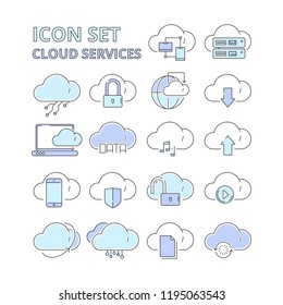Cloud data icons. Global connection internet online secure technology web safety digital platform system vector symbols isolated. Cloud information on shield, server cyber online illustration