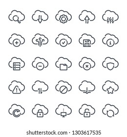 Cloud data and service bold line icon set. Web hosting linear icons. Cloud platform outline vector sign collection.