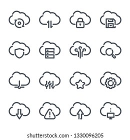 Cloud data and service related line icon set. Computing systems and finance outline collection. Server and technology vector linear icons.