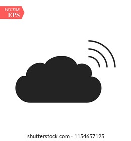 Cloud data sharing with wlan,wifi icon, isolated on white background,flat vector illustration can be used for web, mobile and print, cloud data sharing with wlan,wifi icon, logo concept eps10
