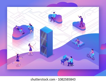 Cloud data storage 3d isometric infographic illustration with hipster people using gadgets, smartphone, laptop, landing page layout, vector web template, smart modern technolodgy concept, violet color