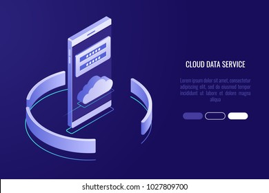 Cloud data storage banner, smartphone with cloud icon and authorization form isometric illustration