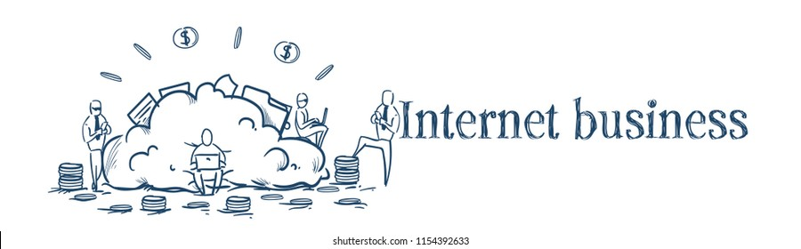 Cloud data storage businesspeople working internet business service concept money dollar coin stack over white background sketch doodle banner vector illustration