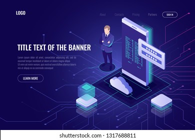Cloud data storage and computing, isometric access for remote data, mobile internet information security, mobile phone with password, user interface vector icon