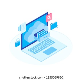 Cloud data storage flat 3d isometric business technology server concept. Laptop with Document drawer in cloud-shaped cabinet. Modern isometric vector illustration.