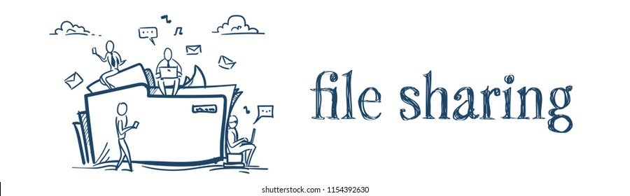 Cloud data storage folder file sharing service concept businesspeople working together over white background sketch doodle banner vector illustration