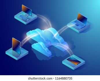 Cloud data storage. Isometric vector illustration showing devices connected to the cloud server. Abstract design concept of a computer data repository.