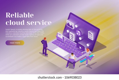 Cloud data storage, remote data access. Professional hosting and data storage. open laptop with multimedia files icons. Cloud services concept with flat 3d isometric style. Vector image