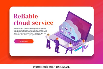 Cloud data storage and remote data access flat 3d isometric business concept. Design template from landing page and advertising. Professional hosting and data storage. Vector illustration