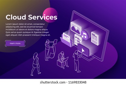 Cloud data storage and remote data access flat 3d isometric business concept. People stand at the open laptop. Professional hosting and data storage. Modern line illustration. Vector image