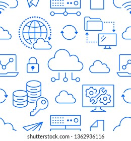 Cloud data storage seamless pattern with line icons. Database background, information, server center, global network, backup, security vector illustrations. Technology blue white wallpaper.