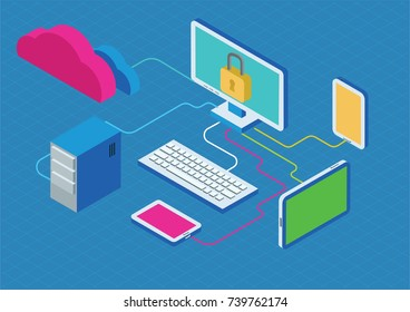 Cloud data storage security safety service concept. Flat isometry ivector illustration on the blue background