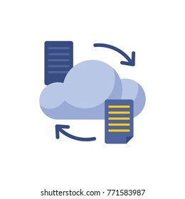Cloud data transfer icon flat symbol. Isolated vector illustration of connection sign cloud data transfer icon concept for your web site mobile app logo UI design.