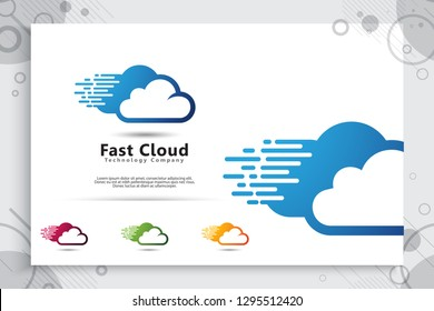 Cloud Data Vector logo for technology data service with modern color and style concept, Illustration of cloud for template and service data digital web