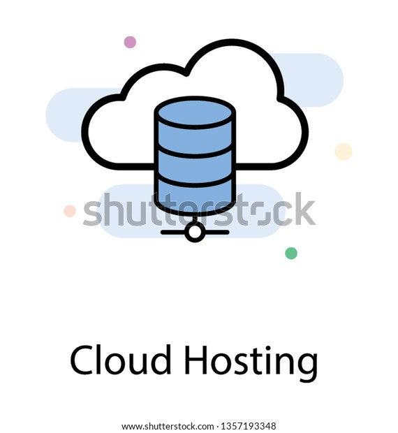 Cloud Database Cloud Hosting Flat Icon Stock Vector (Royalty