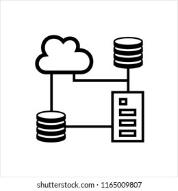 Cloud Database Icon, Data Base Icon Vector Art Illustration