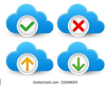 Cloud / database icon set with approved, verified; corrupted, up- and download symbols