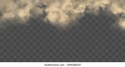 Cloud of dirty smog, brown smoke, heavy thick dust with motes, sand, soil particles isolated 3d realistic vector texture, background. Air pollution, dust allergy, house cleaning concept design element