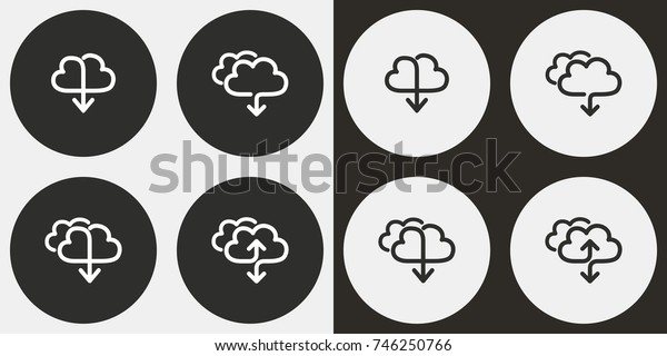 Cloud download - black and white vector icons. Round buttons for graphic and web design.