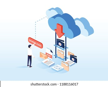 Cloud download flat isometric vector. People are downloading some content like video, music, books and films or documents, from the cloud to the smartphone by pushing corresponding button on