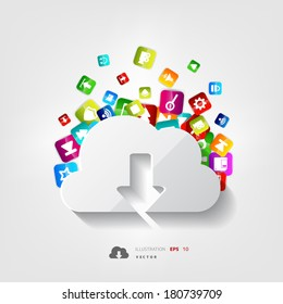 Cloud download icon. Application button.