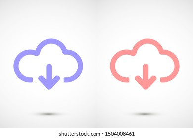 Cloud Download. One of a set of linear web icon.Cloud Download arrow in the cloud sign. Cloud Download storage icon- black background. download icon -
