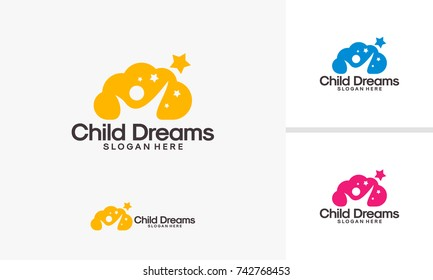 Cloud Dreams logo designs, Online Learning logo designs vector, Kids Dream logo, Child Dream logo template