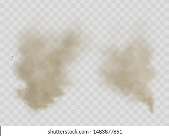 Cloud of dust, cigarette smoke, smog with dirt, soil or sand microscopic particles realistic vector isolated on transparent background. House cleaning, air pollution, allergy concept design element