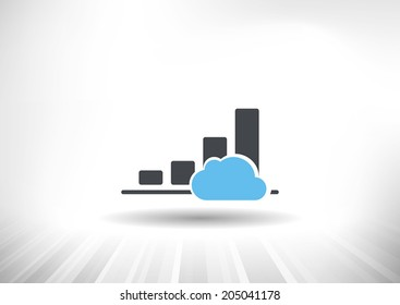 Cloud Economy. Cloud computing concept with rising bar chart and blue cloud. Background and graph layered for easy customization. Fully scalable vector illustration.