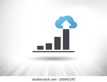 Cloud Economy. Cloud computing concept with rising bar chart and blue cloud ending the trend. Background and graph layered for easy customization. Fully scalable vector illustration.