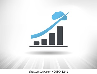Cloud Economy. Cloud computing concept with rising bar chart and blue cloud ending the trendline arrow. Background and graph layered for easy customization. Fully scalable vector illustration.