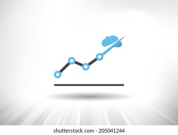 Cloud Economy. Cloud computing concept with rising line chart and blue cloud ending the trendline arrow. Background and graph layered for easy customization. Fully scalable vector illustration.