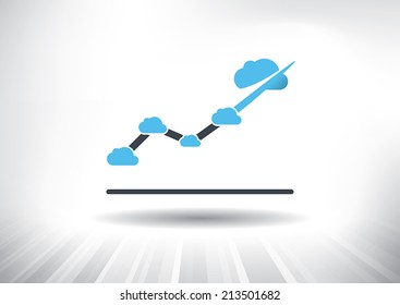 Cloud Economy. Cloud computing concept with rising line chart with blue cloud at each point. Background and graph layered for easy customization. Fully scalable vector illustration.