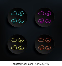 Cloud, exclamatory, check, plus sign dark badge color set icon. Simple thin line, outline vector of web icons for ui and ux, website or mobile application