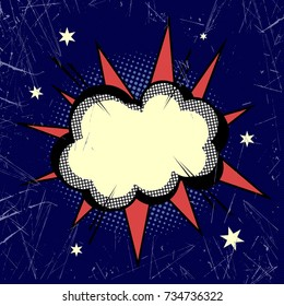 Cloud exploding in the night sky. Vector art
