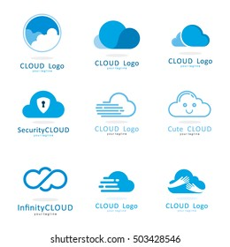 CLOUD  FAST SHIELD SECURITY HAND INFINITY LOGO ICON TEMPLATE SET