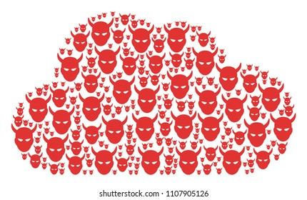 Cloud figure formed of daemon head elements in different sizes. Abstract vector gas representaion. Daemon head icons are formed into cloud figure.