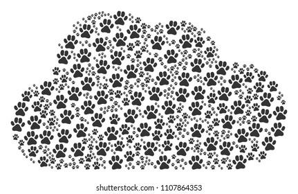 Cloud figure formed of paw footprints icons in different sizes. Abstract vector space representaion. Paw footprints icons are formed into cloud shape.