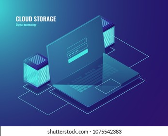 Cloud file storage, server room, data center access, laptop screen with user sign in form, database neon isometric vector