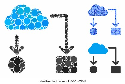 Cloud flow chart mosaic of filled circles in variable sizes and color tones, based on cloud flow chart icon. Vector small circles are united into blue mosaic.