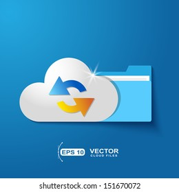 Cloud folder files with shadow effect on blue background