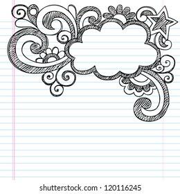 Cloud Frame Border Back to School Sketchy Notebook Doodles- Vector Illustration Design on Lined Sketchbook Paper Background